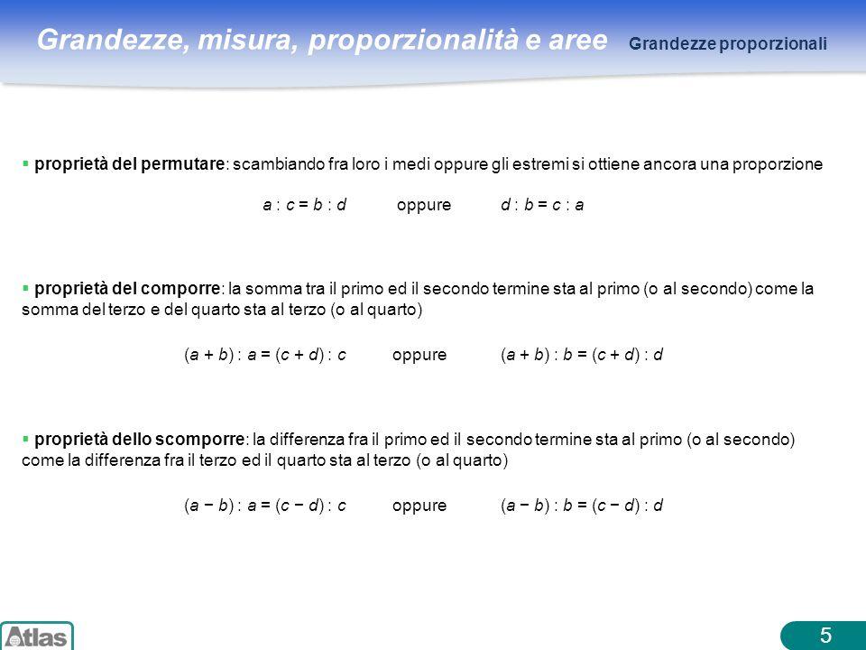 Grandezze, misura, proporzionalità e aree 5 Grandezze proporzionali proprietà del comporre: la somma tra il primo ed il secondo termine sta al primo (