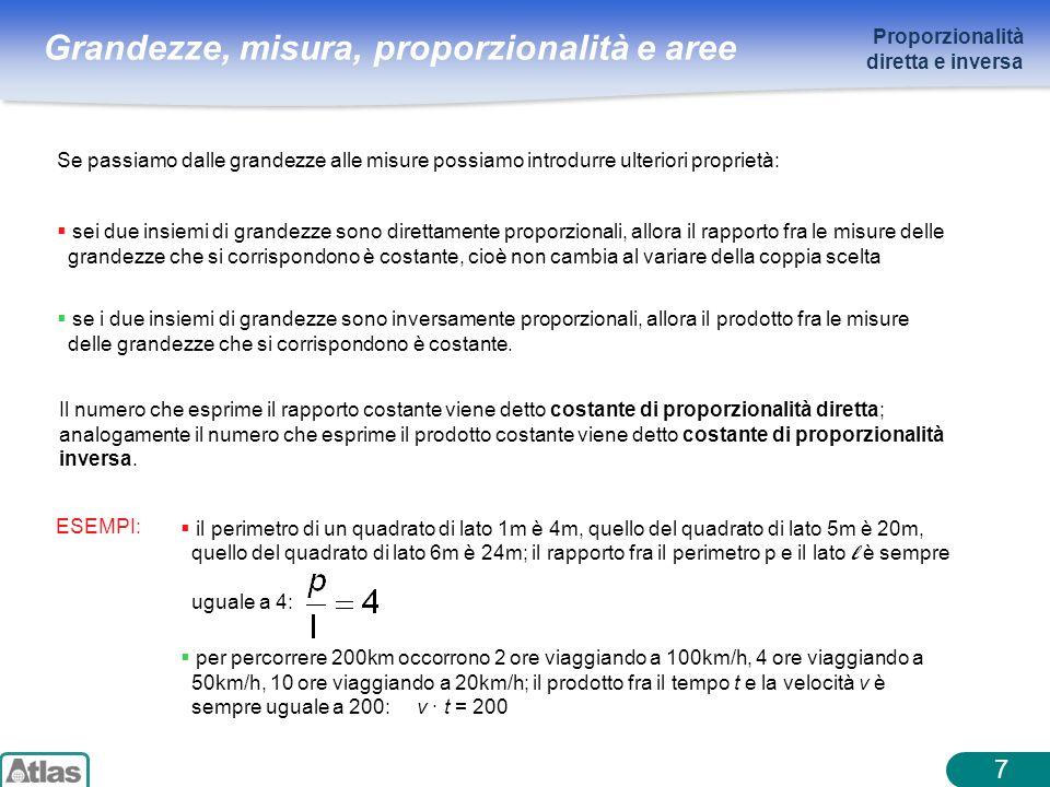 Grandezze, misura, proporzionalità e aree 7 Se passiamo dalle grandezze alle misure possiamo introdurre ulteriori proprietà: sei due insiemi di grande