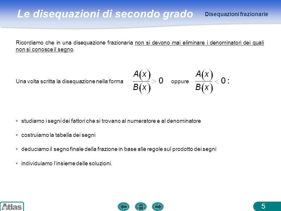 Le disequazioni di secondo grado Disequazioni frazionarie 5 Ricordiamo che in una disequazione frazionaria non si devono mai eliminare i denominatori