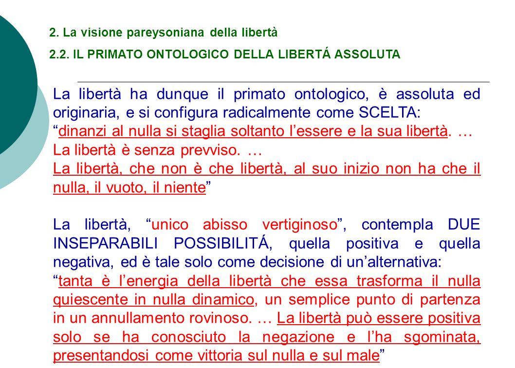 2. La visione pareysoniana della libertà 2.2. IL PRIMATO ONTOLOGICO DELLA LIBERTÁ ASSOLUTA La libertà ha dunque il primato ontologico, è assoluta ed o