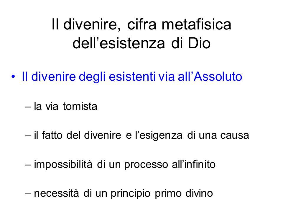 Il divenire, cifra metafisica dellesistenza di Dio Il divenire degli esistenti via allAssoluto –la via tomista –il fatto del divenire e lesigenza di u