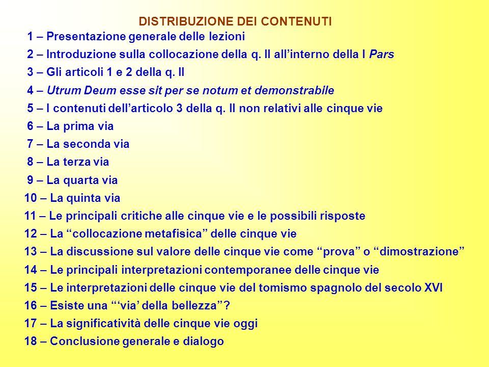 1 – Presentazione generale delle lezioni 2 – Introduzione sulla collocazione della q. II allinterno della I Pars 3 – Gli articoli 1 e 2 della q. II 4