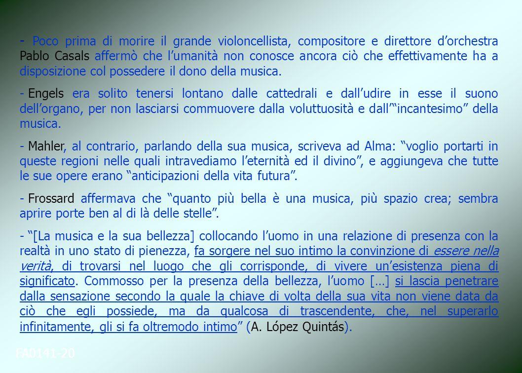 FA0141-20 - Poco prima di morire il grande violoncellista, compositore e direttore dorchestra Pablo Casals affermò che lumanità non conosce ancora ciò