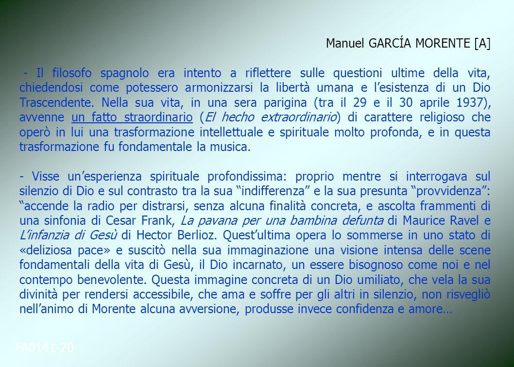 FA0141-20 Manuel GARCÍA MORENTE [A] - Il filosofo spagnolo era intento a riflettere sulle questioni ultime della vita, chiedendosi come potessero armo
