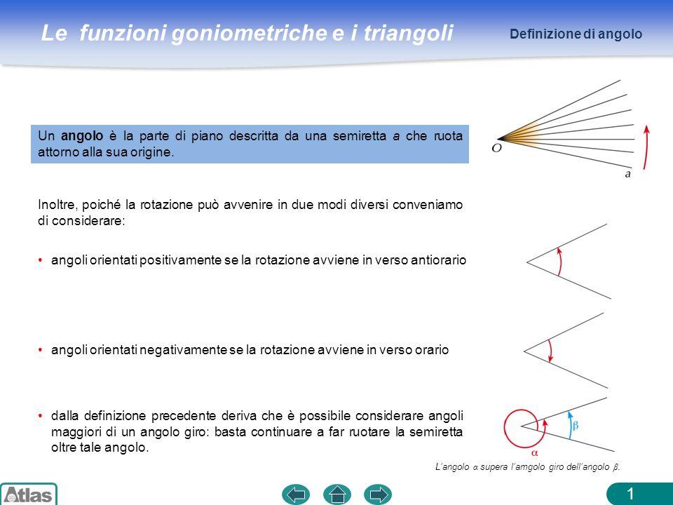 Le funzioni goniometriche e i triangoli 1 Un angolo è la parte di piano descritta da una semiretta a che ruota attorno alla sua origine. Inoltre, poic