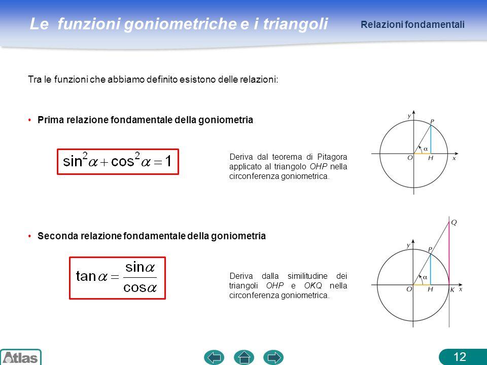 Le funzioni goniometriche e i triangoli 12 Tra le funzioni che abbiamo definito esistono delle relazioni: Prima relazione fondamentale della goniometr