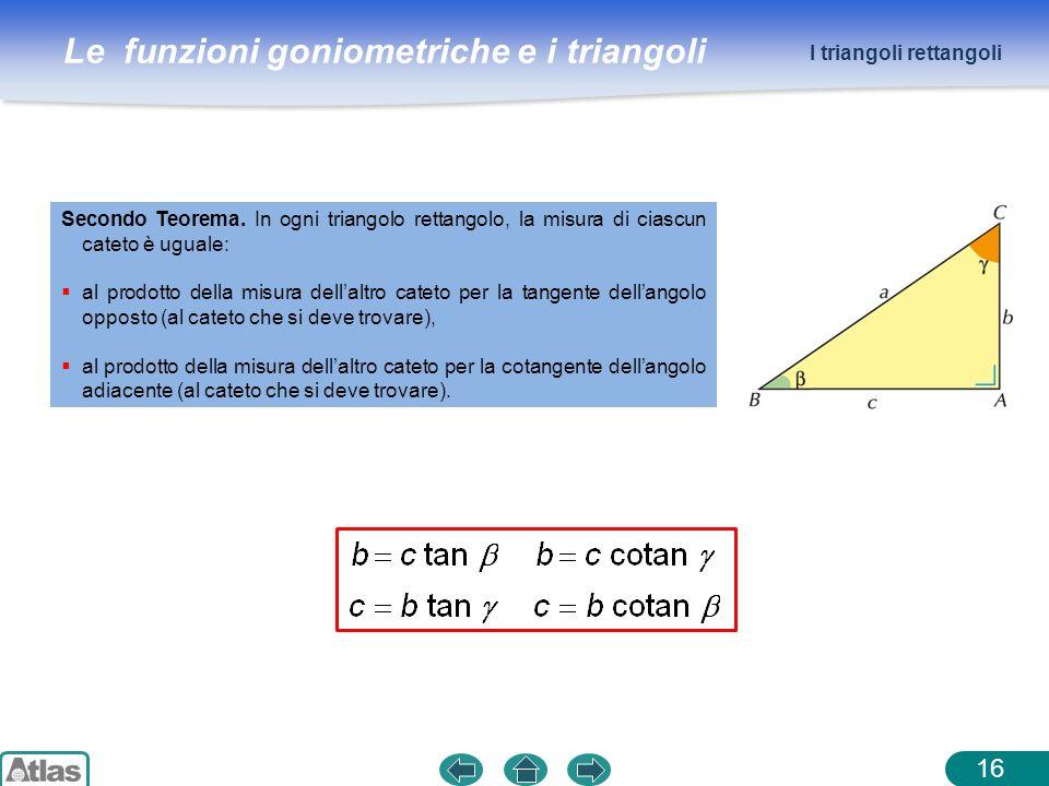 Le funzioni goniometriche e i triangoli 16 I triangoli rettangoli Secondo Teorema. In ogni triangolo rettangolo, la misura di ciascun cateto è uguale: