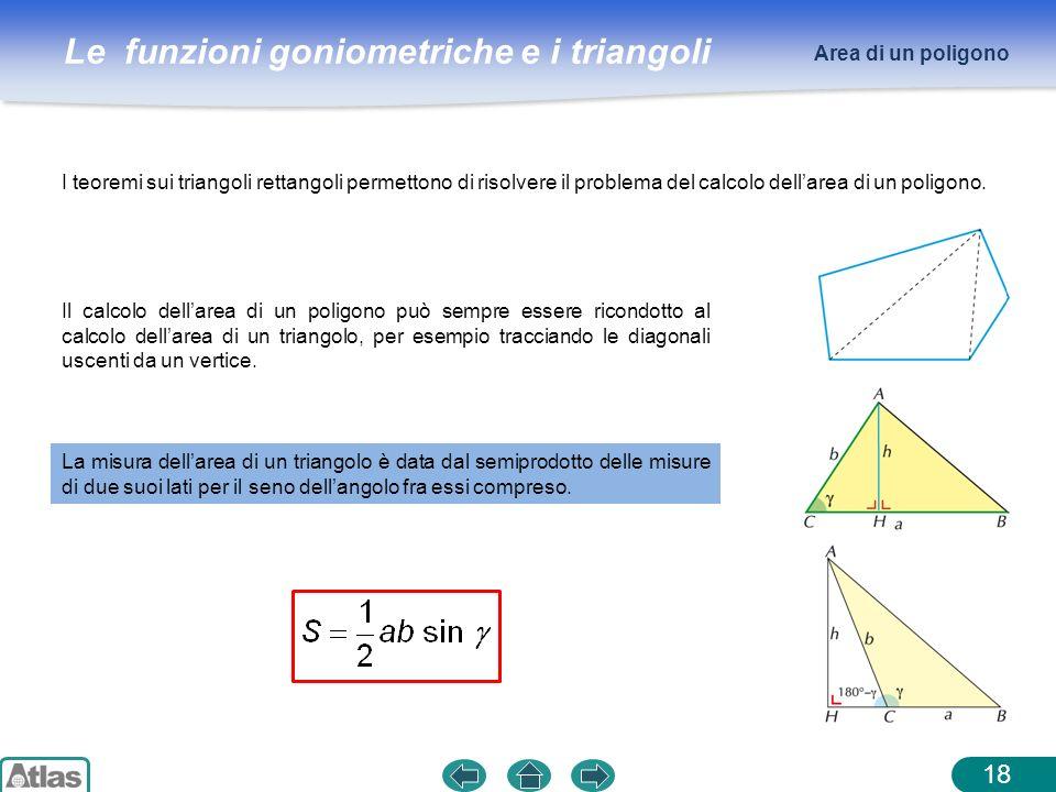 Le funzioni goniometriche e i triangoli 18 Area di un poligono I teoremi sui triangoli rettangoli permettono di risolvere il problema del calcolo dell