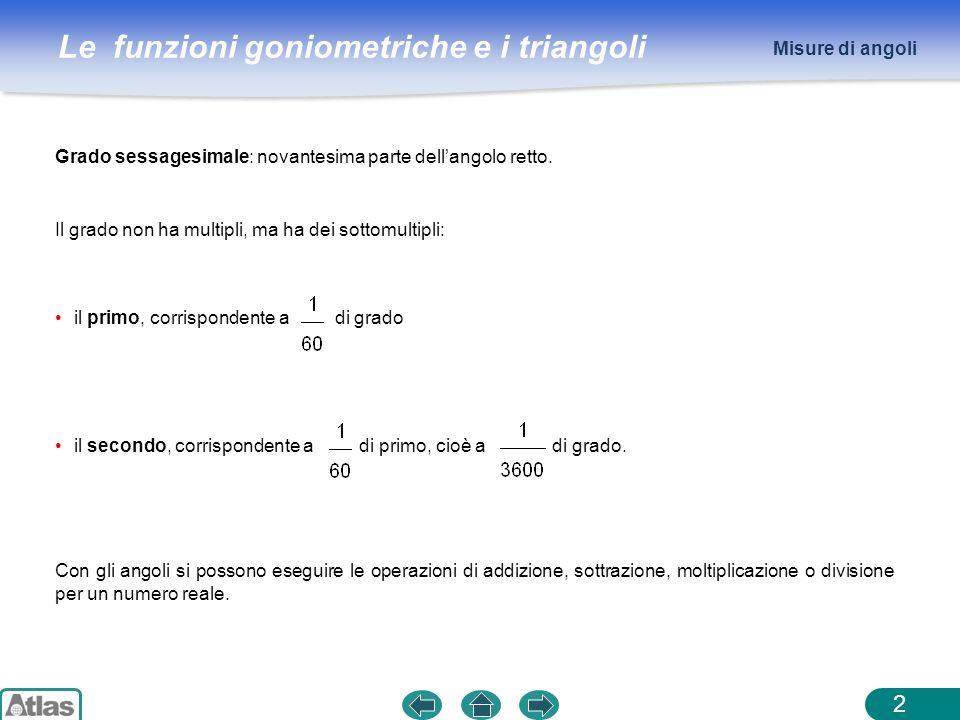 Le funzioni goniometriche e i triangoli 2 Grado sessagesimale: novantesima parte dellangolo retto. Il grado non ha multipli, ma ha dei sottomultipli: