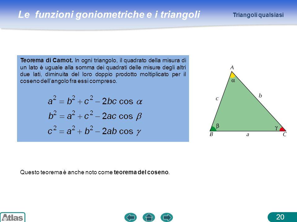 Le funzioni goniometriche e i triangoli 20 Triangoli qualsiasi Teorema di Carnot. In ogni triangolo, il quadrato della misura di un lato è uguale alla