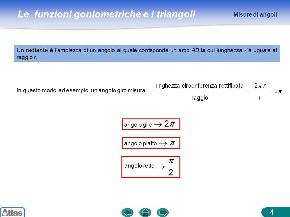 Le funzioni goniometriche e i triangoli ESEMPIO 5 Misure di angoli In generale, per passare dalla misura di un angolo in gradi a quella in radianti, e viceversa, si usa la proporzione x : misura nellangolo in radianti y : misura nellangolo in gradi se vogliamo sapere quanto misura in gradi langolo di radianti, basta risolvere la proporzione rispetto a y oppure più semplicemente attribuire a π il suo valore in gradi: