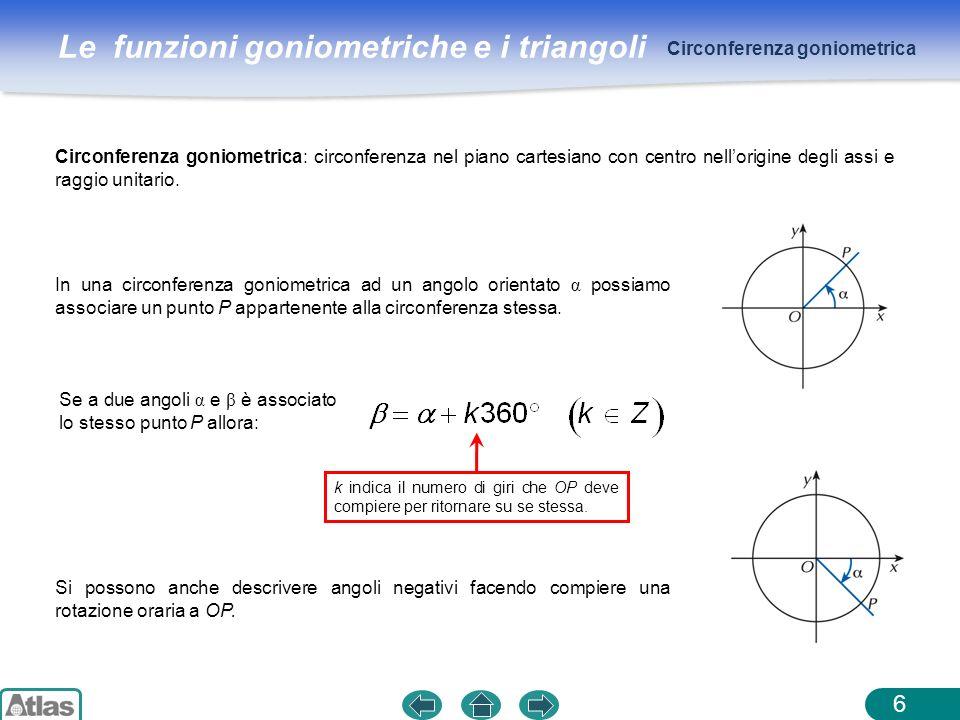 Le funzioni goniometriche e i triangoli 6 Circonferenza goniometrica: circonferenza nel piano cartesiano con centro nellorigine degli assi e raggio un