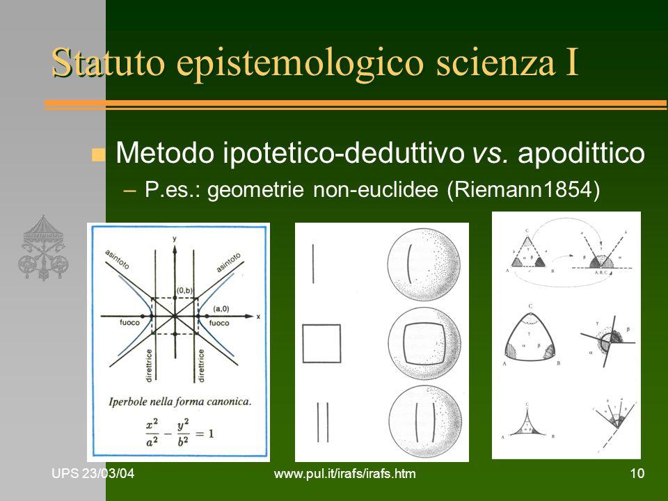 UPS 23/03/04www.pul.it/irafs/irafs.htm10 Statuto epistemologico scienza I n Metodo ipotetico-deduttivo vs. apodittico –P.es.: geometrie non-euclidee (