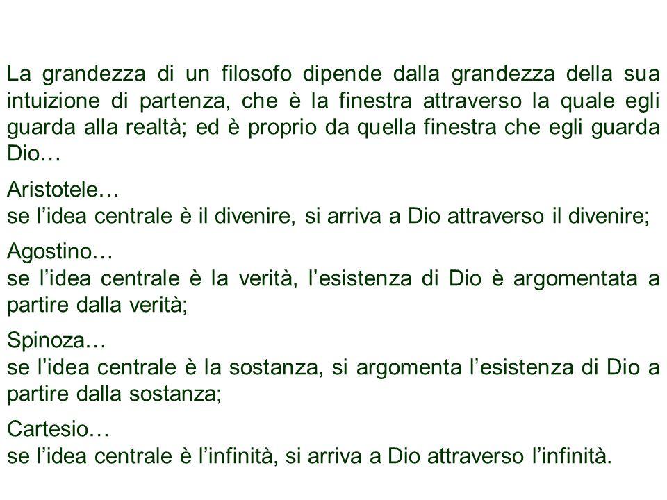 Tommaso, che è stato folgorato dallidea dellessere fa altrettanto: è infatti in rapporto alla perfezione dellessere come centro di tutte le perfezioni e fondamento di ogni realtà che egli propone il suo argomento dellesistenza di Dio.