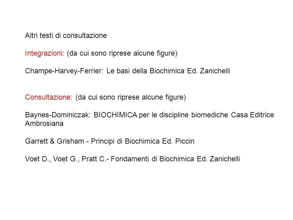 Altri testi di consultazione Integrazioni: (da cui sono riprese alcune figure) Champe-Harvey-Ferrier: Le basi della Biochimica Ed. Zanichelli Consulta