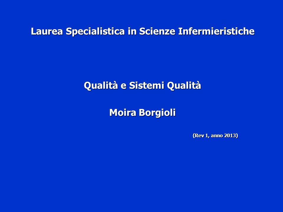 Laurea Specialistica in Scienze Infermieristiche Qualità e Sistemi Qualità Moira Borgioli (Rev 1, anno 2013) (Rev 1, anno 2013)
