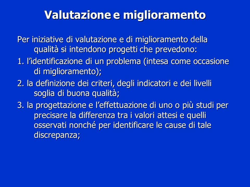Valutazione e miglioramento Per iniziative di valutazione e di miglioramento della qualità si intendono progetti che prevedono: 1. lidentificazione di