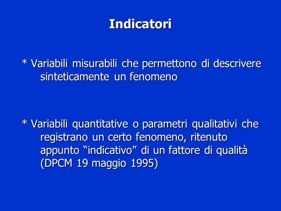Indicatori * Variabili misurabili che permettono di descrivere sinteticamente un fenomeno * Variabili quantitative o parametri qualitativi che registr