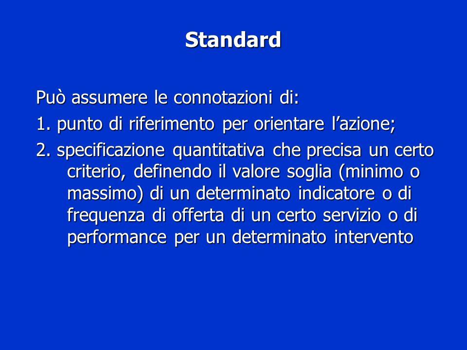 Standard Può assumere le connotazioni di: 1. punto di riferimento per orientare lazione; 2. specificazione quantitativa che precisa un certo criterio,