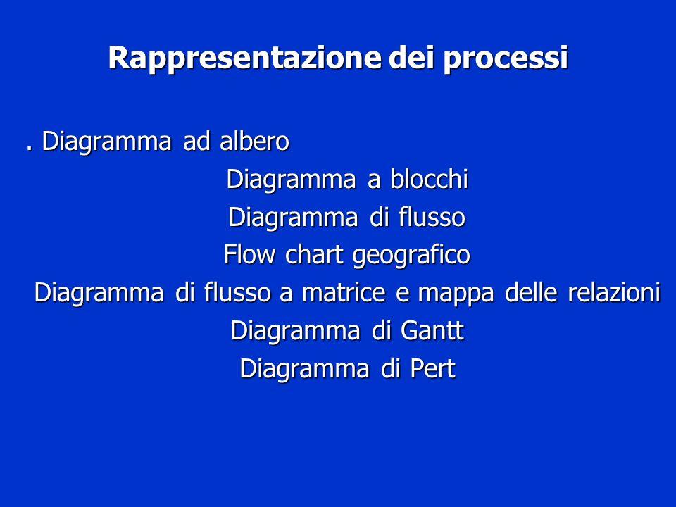Rappresentazione dei processi. Diagramma ad albero Diagramma a blocchi Diagramma di flusso Flow chart geografico Diagramma di flusso a matrice e mappa