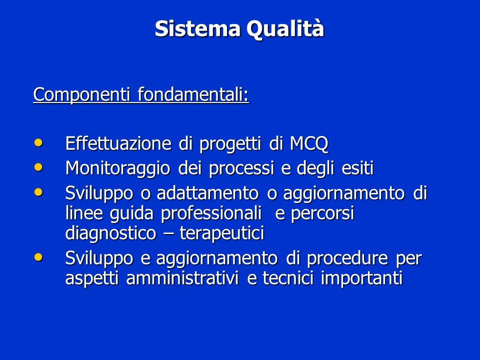 Sistema Qualità Componenti fondamentali: Effettuazione di progetti di MCQ Effettuazione di progetti di MCQ Monitoraggio dei processi e degli esiti Mon