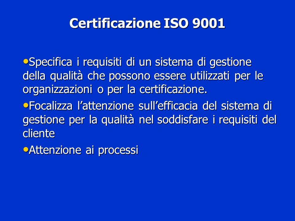 Certificazione ISO 9001 Certificazione ISO 9001 Specifica i requisiti di un sistema di gestione della qualità che possono essere utilizzati per le org