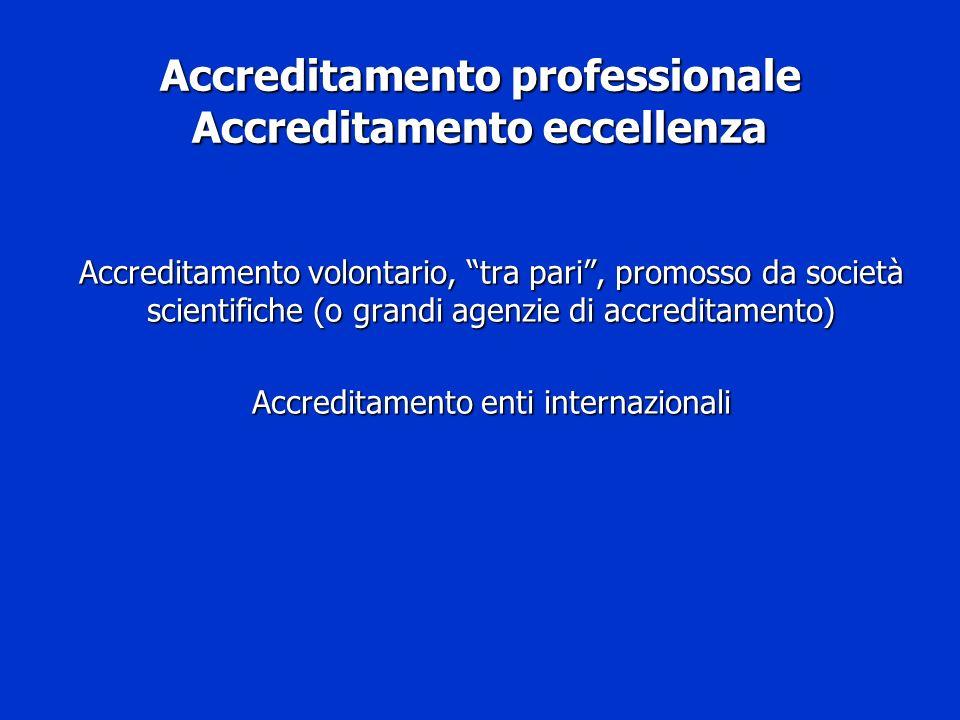Accreditamento professionale Accreditamento eccellenza Accreditamento volontario, tra pari, promosso da società scientifiche (o grandi agenzie di accr