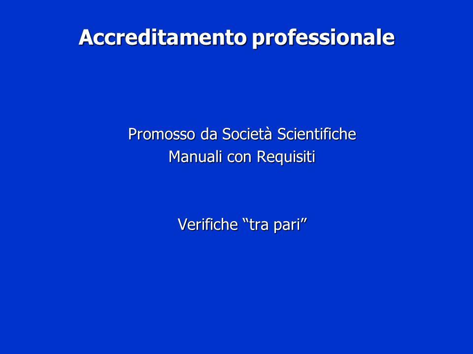 Accreditamento professionale Promosso da Società Scientifiche Manuali con Requisiti Verifiche tra pari