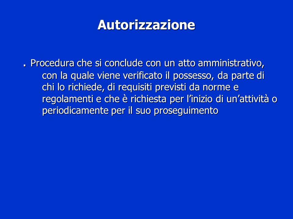 Autorizzazione. Procedura che si conclude con un atto amministrativo, con la quale viene verificato il possesso, da parte di chi lo richiede, di requi