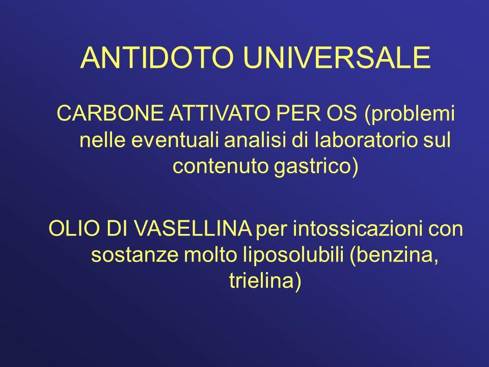 ANTIDOTO UNIVERSALE CARBONE ATTIVATO PER OS (problemi nelle eventuali analisi di laboratorio sul contenuto gastrico) OLIO DI VASELLINA per intossicazi