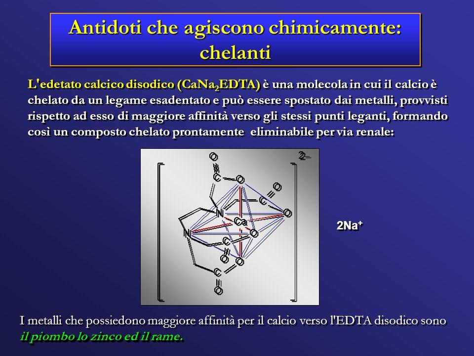 Antidoti che agiscono chimicamente: chelanti 2Na + L'edetato calcico disodico (CaNa 2 EDTA) è una molecola in cui il calcio è chelato da un legame esa