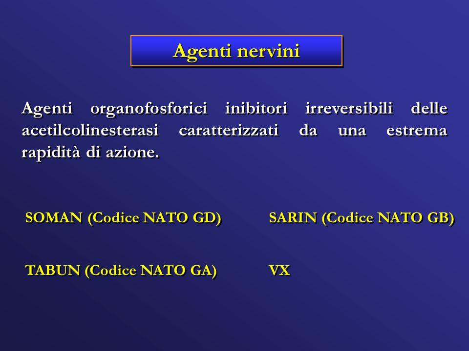 Agenti nervini Agenti organofosforici inibitori irreversibili delle acetilcolinesterasi caratterizzati da una estrema rapidità di azione. SARIN (Codic