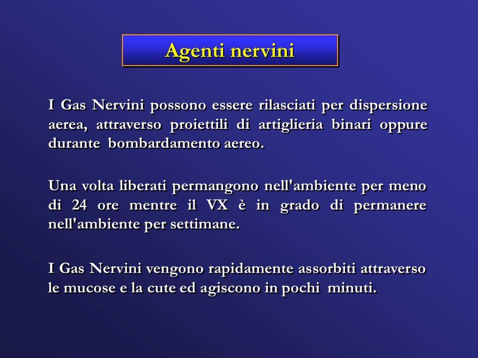 Agenti nervini I Gas Nervini possono essere rilasciati per dispersione aerea, attraverso proiettili di artiglieria binari oppure durante bombardamento