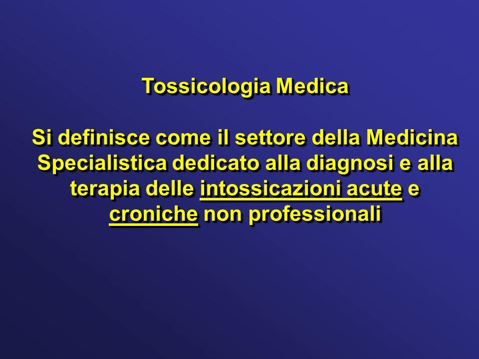 Tossicologia Medica Si definisce come il settore della Medicina Specialistica dedicato alla diagnosi e alla terapia delle intossicazioni acute e croni