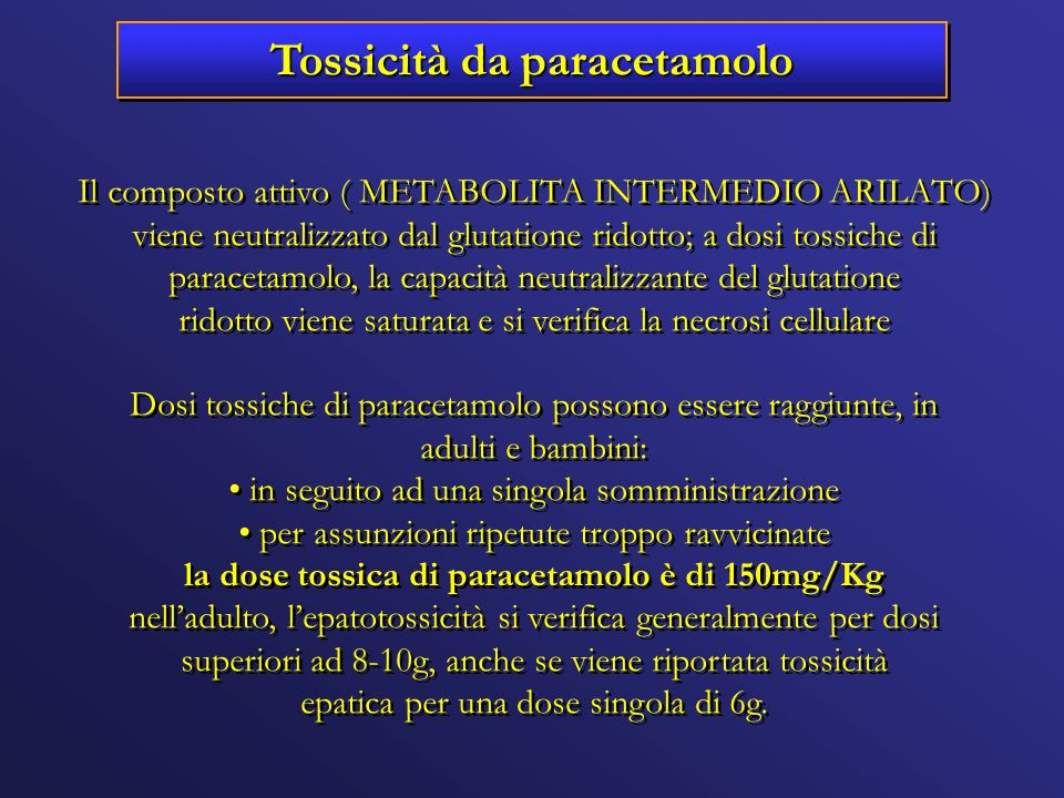 Tossicità da paracetamolo Il composto attivo ( METABOLITA INTERMEDIO ARILATO) viene neutralizzato dal glutatione ridotto; a dosi tossiche di paracetam