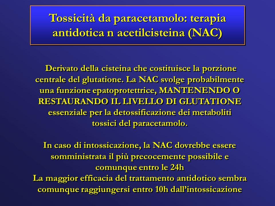 Tossicità da paracetamolo: terapia antidotica n acetilcisteina (NAC) Derivato della cisteina che costituisce la porzione centrale del glutatione. La N