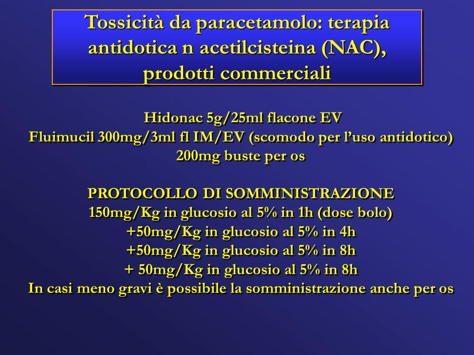 Tossicità da paracetamolo: terapia antidotica n acetilcisteina (NAC), prodotti commerciali Hidonac 5g/25ml flacone EV Fluimucil 300mg/3ml fl IM/EV (sc