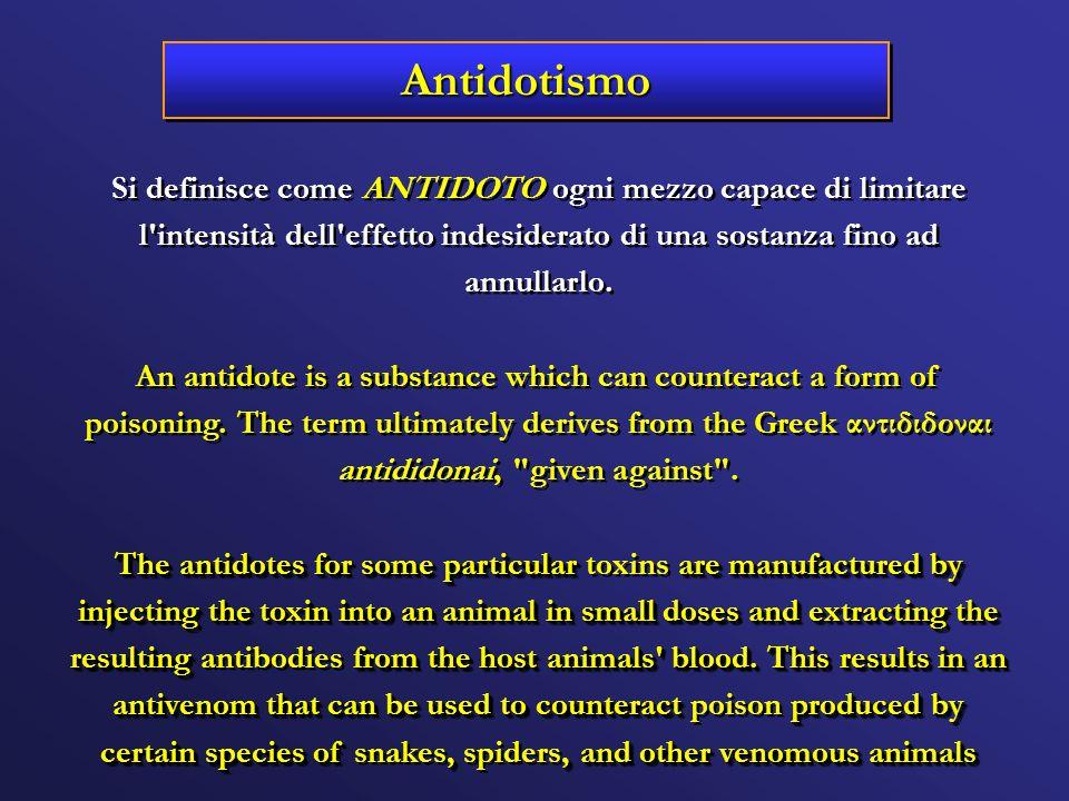 Si definisce come ANTIDOTO ogni mezzo capace di limitare l'intensità dell'effetto indesiderato di una sostanza fino ad annullarlo. An antidote is a su
