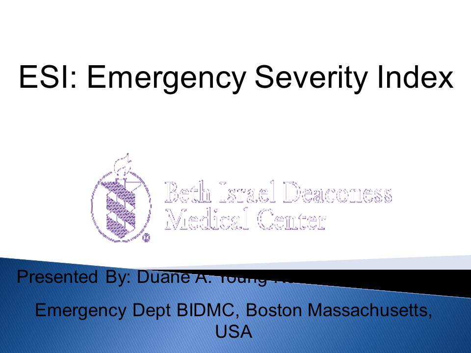 USA Gold standard ENA five level priority Gli infermieri che usano un sistema a cinque non tornerebbero a quello a tre o quattro livelli di priorit à