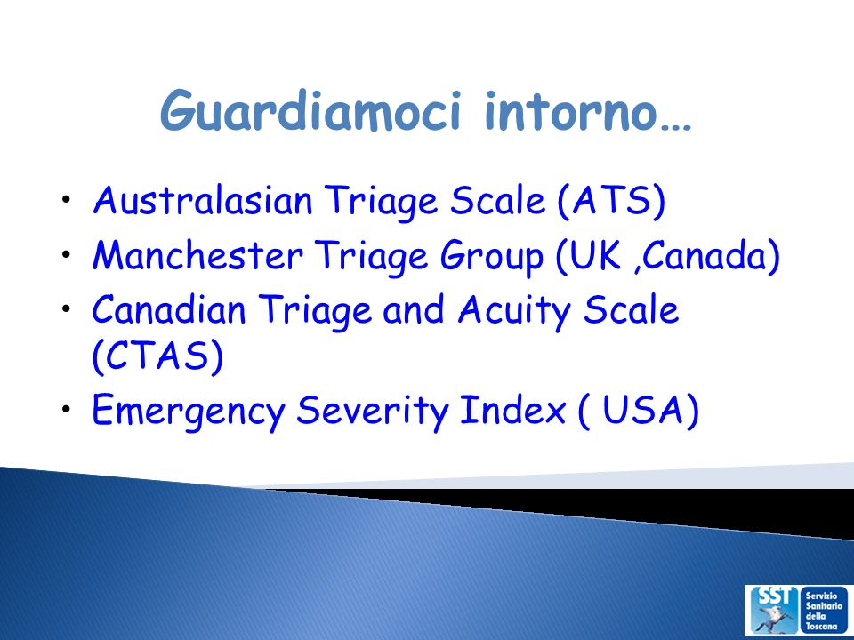 Guardiamoci intorno… Australasian Triage Scale (ATS) Manchester Triage Group (UK,Canada) Canadian Triage and Acuity Scale (CTAS) Emergency Severity Index ( USA)