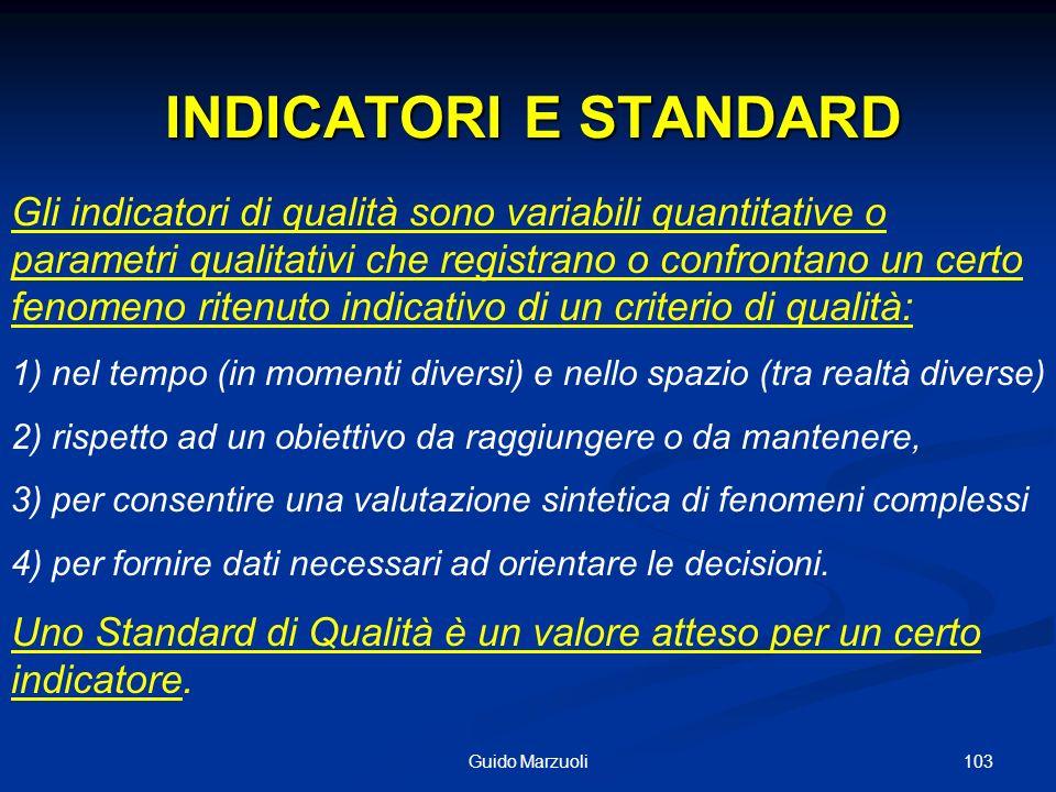 103Guido Marzuoli INDICATORI E STANDARD INDICATORI E STANDARD Gli indicatori di qualità sono variabili quantitative o parametri qualitativi che regist