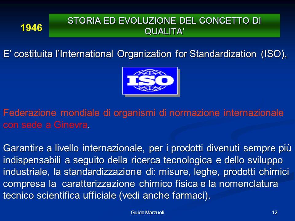 12Guido Marzuoli E costituita lInternational Organization for Standardization (ISO),. Federazione mondiale di organismi di normazione internazionale c