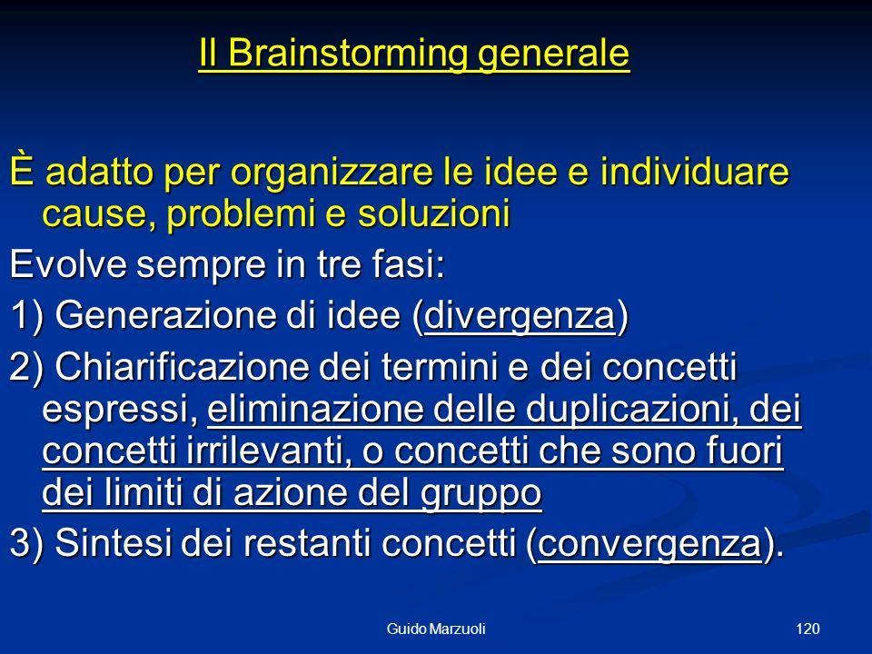 120Guido Marzuoli Il Brainstorming generale È adatto per organizzare le idee e individuare cause, problemi e soluzioni Evolve sempre in tre fasi: 1) G