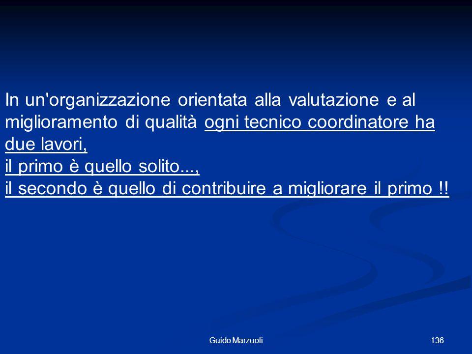 136Guido Marzuoli In un'organizzazione orientata alla valutazione e al miglioramento di qualità ogni tecnico coordinatore ha due lavori, il primo è qu