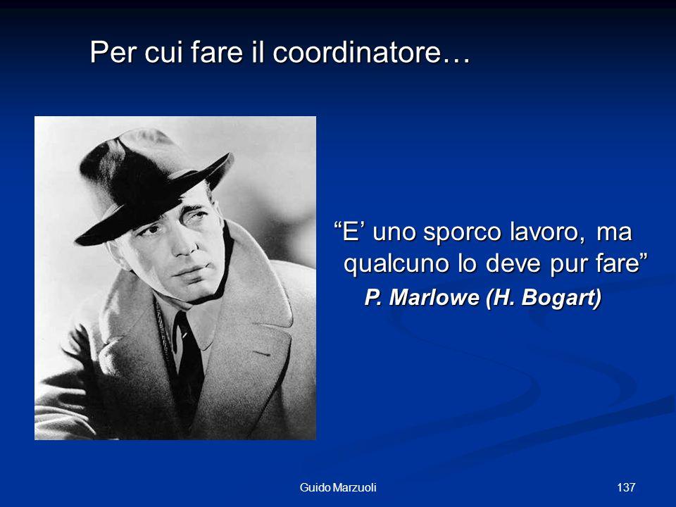 137Guido Marzuoli E uno sporco lavoro, ma qualcuno lo deve pur fare P. Marlowe (H. Bogart) Per cui fare il coordinatore…
