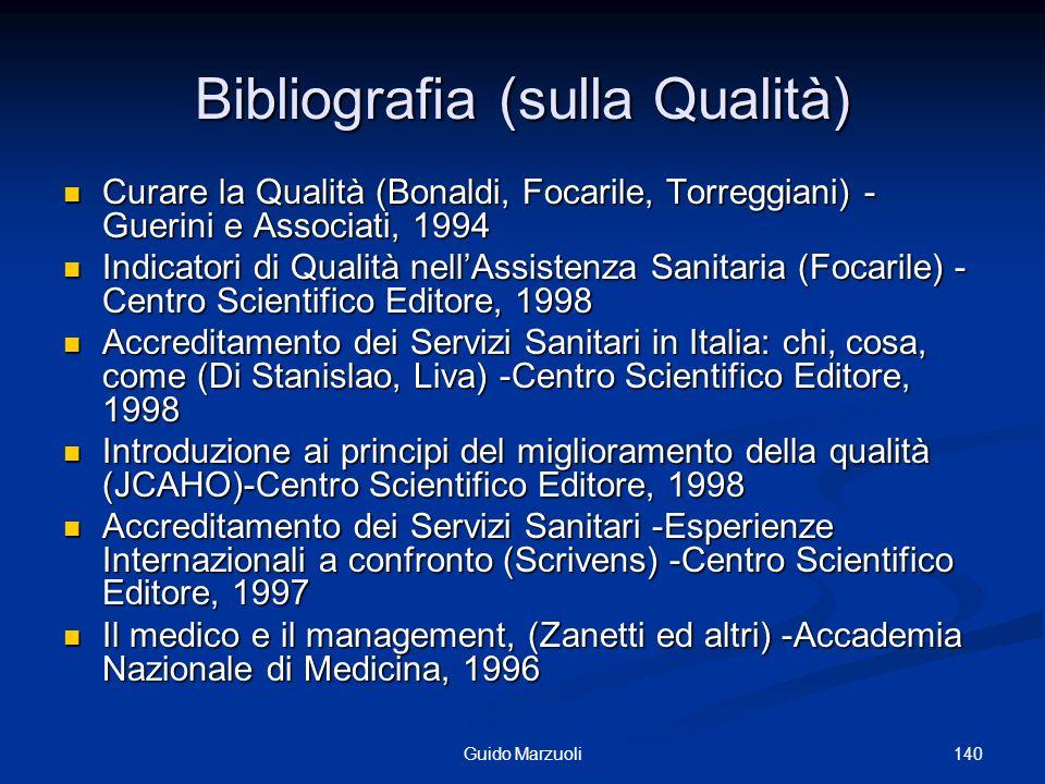140Guido Marzuoli Bibliografia (sulla Qualità) Curare la Qualità (Bonaldi, Focarile, Torreggiani) - Guerini e Associati, 1994 Curare la Qualità (Bonal