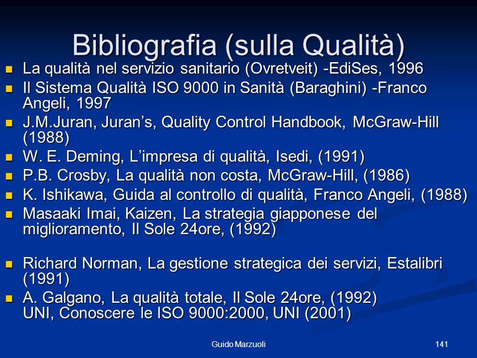 141Guido Marzuoli Bibliografia (sulla Qualità) La qualità nel servizio sanitario (Ovretveit) -EdiSes, 1996 La qualità nel servizio sanitario (Ovretvei