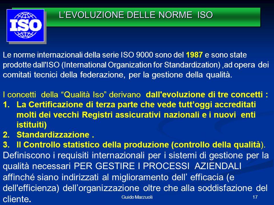 17Guido Marzuoli Le norme internazionali della serie ISO 9000 sono del 1987 e sono state prodotte dall'ISO (International Organization for Standardiza