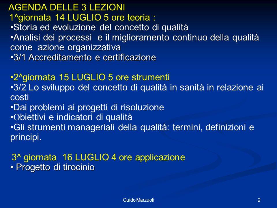 2Guido Marzuoli AGENDA DELLE 3 LEZIONI 1^giornata 14 LUGLIO 5 ore teoria : Storia ed evoluzione del concetto di qualità Analisi dei processi e il migl