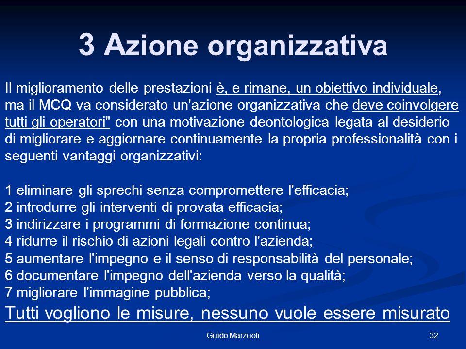32Guido Marzuoli 3 A zione organizzativa Il miglioramento delle prestazioni è, e rimane, un obiettivo individuale, ma il MCQ va considerato un'azione